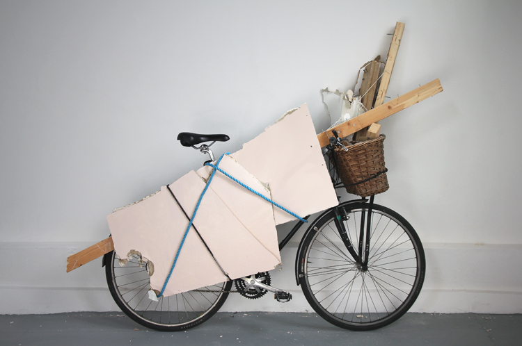 Bicycle with equipment for making rubbings